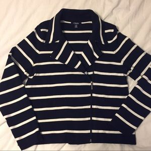 Chaps navy and white striped jacket